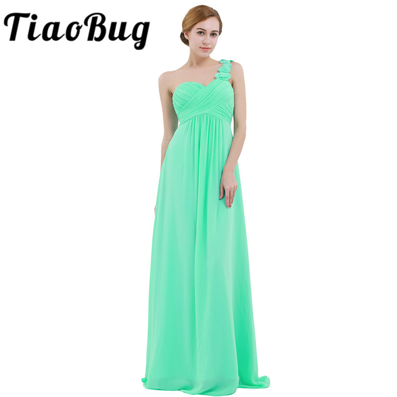 TiaoBug Women Ladies Summer Chiffon Tulle One-shoulder Pleated Bridesmaid Dress Long Prom Party Gown Formal Floor Length Dress