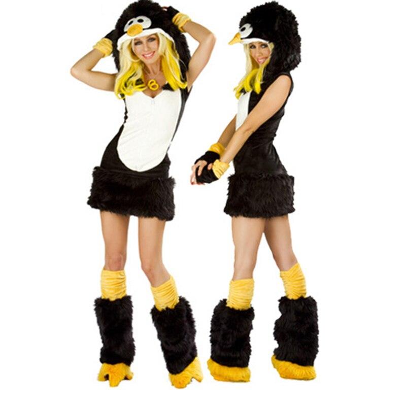 VASHEJIANG Animal Kigurumi penguin Faux Fur Costume Women Animal Costume Halloween Carnival Fancy Dress Sexy  Cosplay Outfits