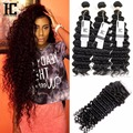 Brazilian Deep Wave With Closure 3 Bundles Deep Curly With Closure Queen Hair Products 8A Brazilian Virgin Hair With Closure HC