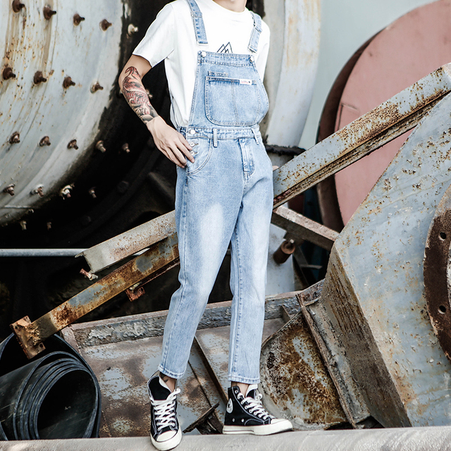 2019 New Japanese Retro tooling jumpsuit Men's Korean version of the self-cultivation Light Nine jeans Denim Overalls