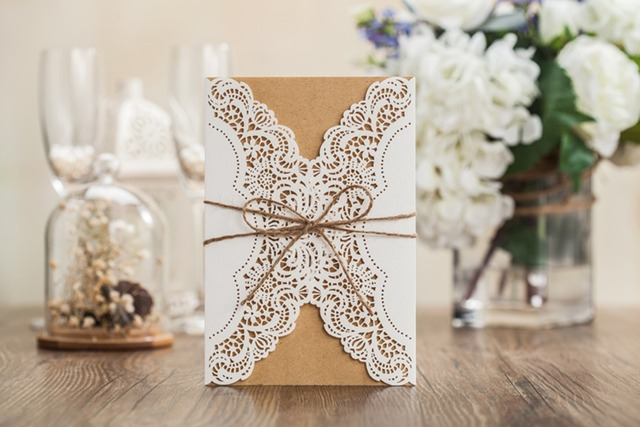 High Quality Wedding Invitation Card 185*128mm White Kraft Paper Including  Of Insert Paper,