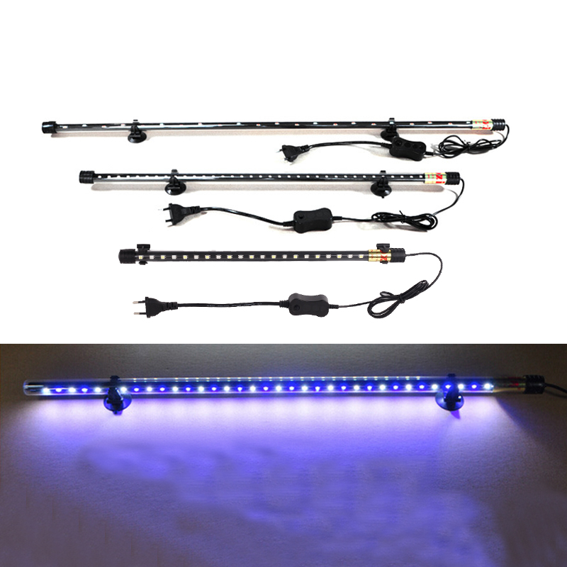 Aquarium 2835 LED Light Blue & White 18/30/40CM Fish Tank Submersible Waterproof Bar Strip Lamp EU Plug