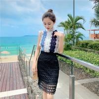 New 2019 Summer Women Suits Fashion Sleeveless Contrast Color Sweet Vest Tops+High Waist Hollow Out Black Mini Skirt 2 Piece Set