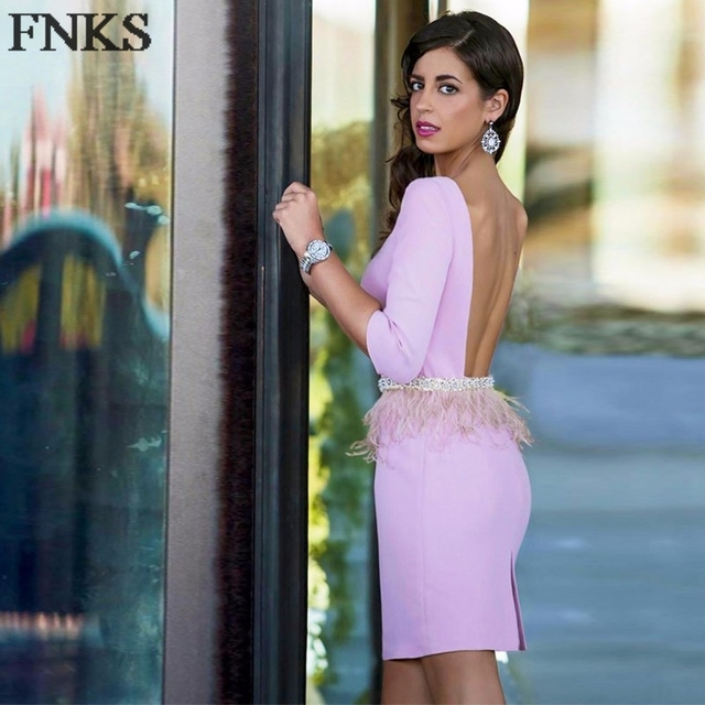 Sexy Pink Backless Cocktail Dresses Crystal Beading Sash Simple Feather Straight Mini Cocktail Party Dress Short Prom Gown co-1