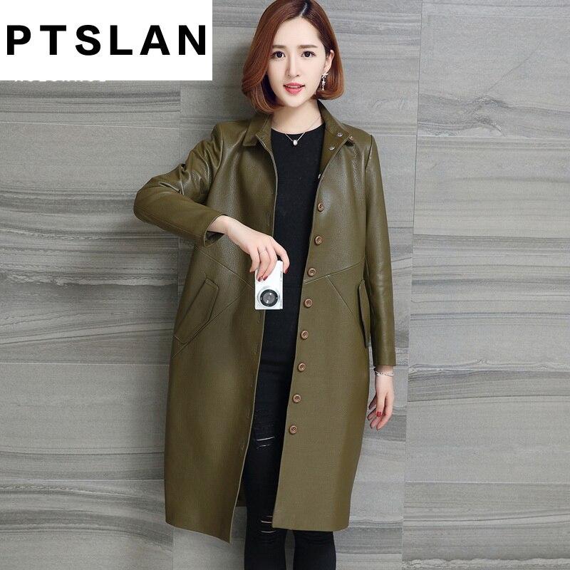 Ptslan Véritable Manteau En Cuir Pour Femmes Automne Mode Classique À Manches Longues Slim Manteau Dames En Cuir Coupe-Vent Veste En Peau de Mouton