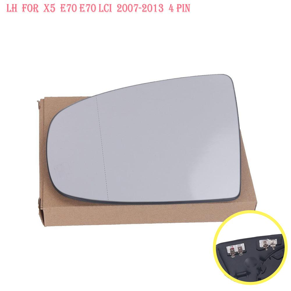 Left & Right White Side Heated Wing Mirror Glass For BMW X5 X6 E70 E71 E72 2008 2014