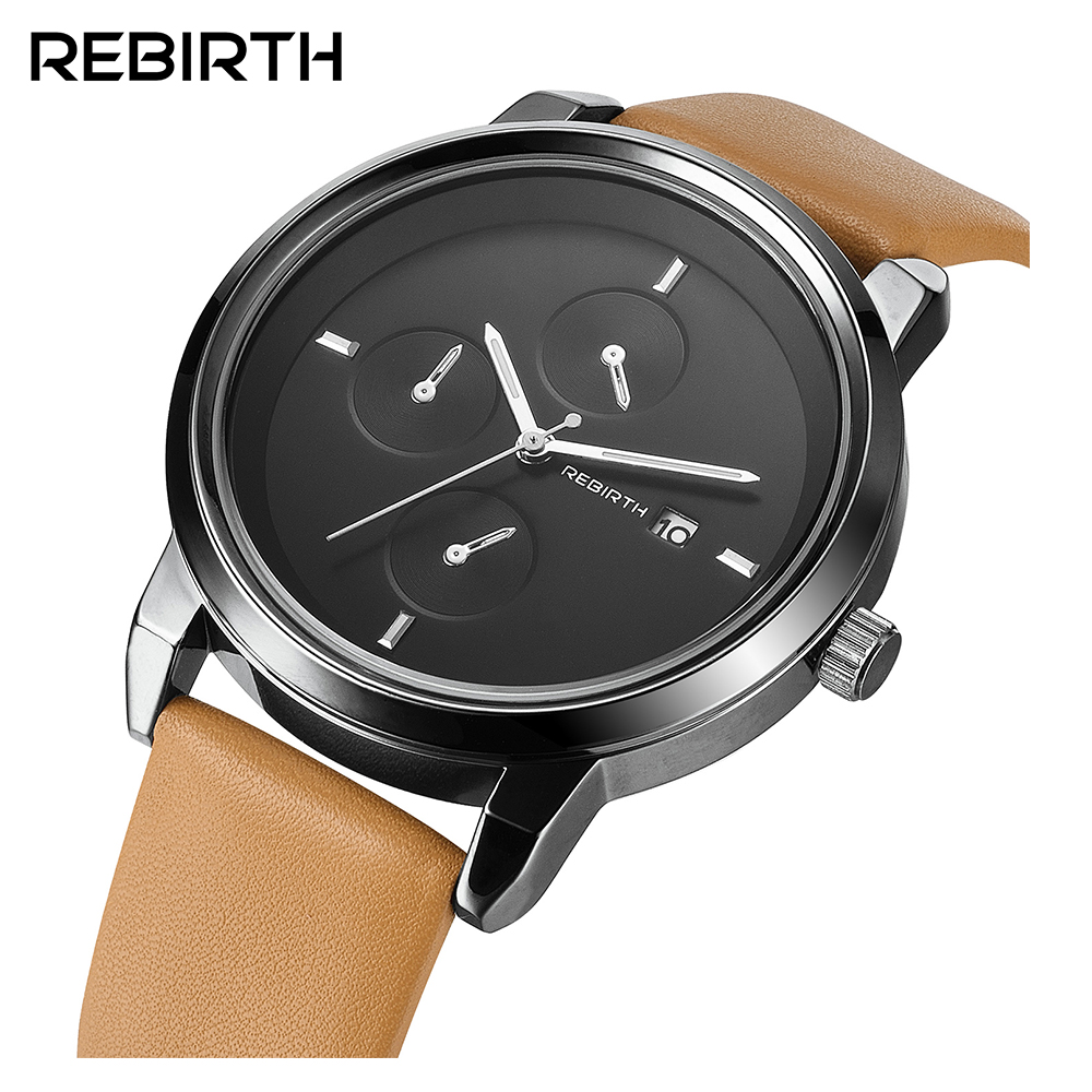 REBIRTH Top Brand Fashion Luxury Men Women Quartz Watch  Military Casual Business  Leather Clock Sport Wristwatch  023B elegant design bling diamond sands dial women watches fashion female dress watch rebirth luxury brand leather quartz clock gifts