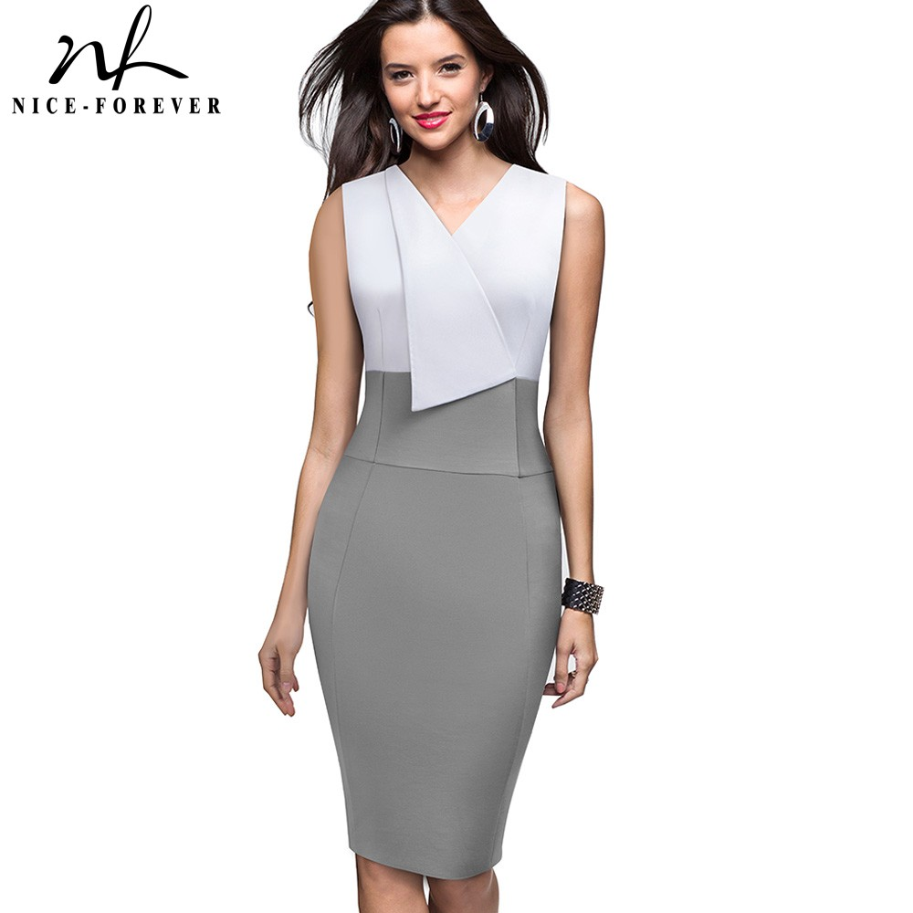 Nice-Forever Elegant Women Wear To Work Patchwork Summer Vestidos Business Bodycon Vintage Ruffle Office Dress B529