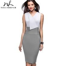 Nice Forever Elegant Women Wear to Work Patchwork Summer vestidos Business Bodycon Vintage Ruffle Office Dress B529