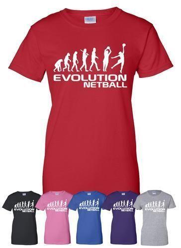 Netball ~ Evolution de ~ adulte//T-Shirt femme plus de taille et de Colors-A385