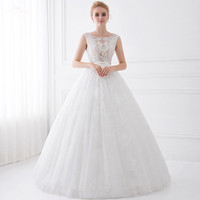 LZ192 Women Classic Illusion Sleeveless See Through Back Lace Dress Ball Gown Wedding Dresses