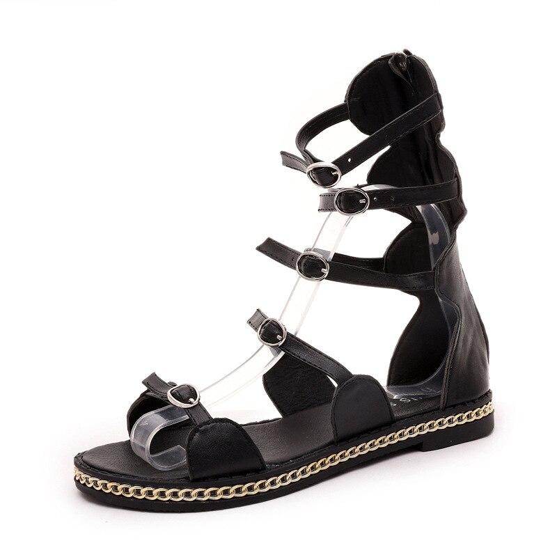 Summer 2016 New Fashion Street Snap Tide Open Toe Belt Buckle Roman Boots Flat Sandals Women's Gladiator Shoes