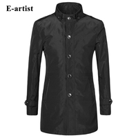 New Fashion Trench Coat Mens Long Slim Fit Casual Outerwear Windbreaker Overcoat Outdoor Spring Plus Size