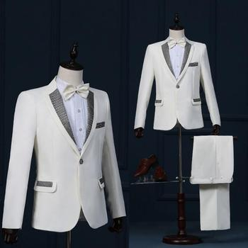 Paillette stage clothing for men suit set with pants 2020 mens wedding suits costume groom formal dress singer star style dance