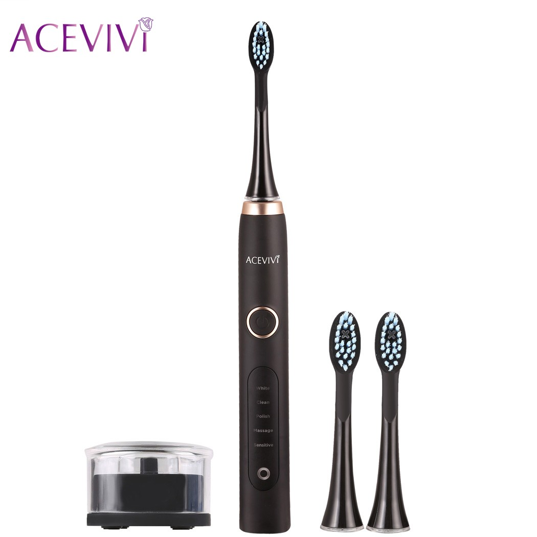 ACEVIVI Ultrasonic Sonic USB Chargeable Electric Toothbrush With Charging Base & 3 Head Teeth Brush Dental Care Toothbrush 2017 new kemei km 908 chargeable electric toothbrush reciprocating rotation profession whitening teeth wireless ultrasonic sonic