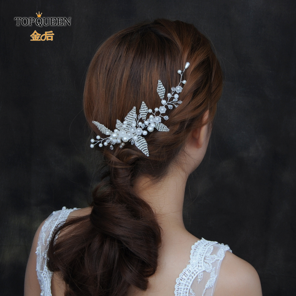 TOPQUEEN HP135 Wedding Accessories Elegant Bridal Headband Crystal Women's Wedding Accessories Pearl Bridal Hair Accessories