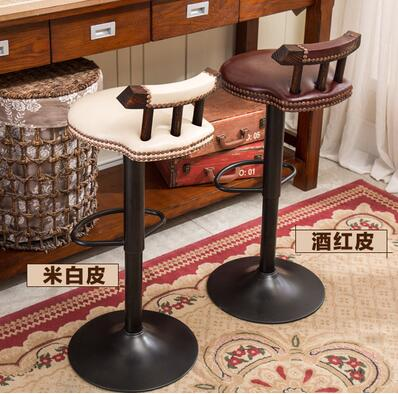 Real wood chair, wrought iron bar chair. Lifting chair. Rotate. Stool bar chair the bar chair hairdressing pulley stool swivel chair master chair technician chair