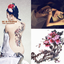 3pcs Large Color Plum Flower Tones Designs Temporary Tattoo Stickers Body/back Painting MQG01 Drawings Waterproof Sex Women
