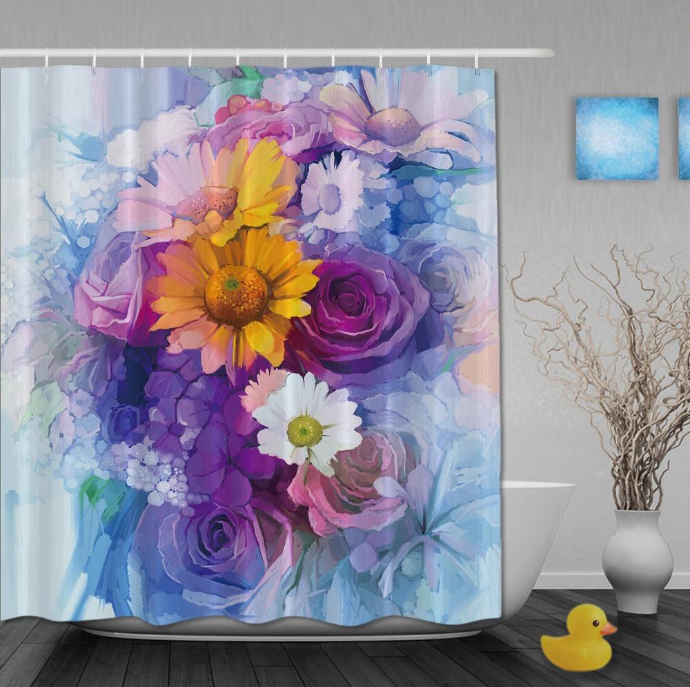 huile dessin rideaux de douche color floraison fl - Rideau De Douche Color