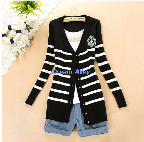 Free shipping new style Sweater,  spring & summer women's preppy style stripe cardigan outerwear dress, girls' basic shirt