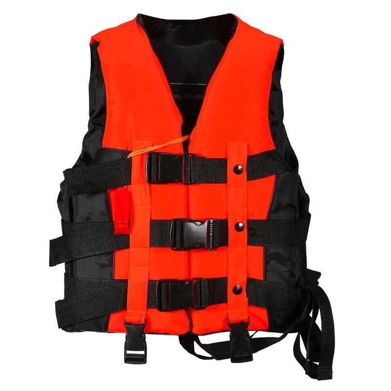 Chaleco salvavidas de poliester para adultos de S-XXXL tamaños para hombres y mujeres, chaleco salvavidas de espuma de supervivencia para surf de esquí y natación Universal con silbato