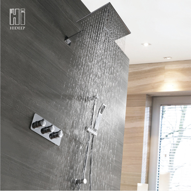 Скрытый душевой набор настенный горячий и холодный двухфункциональный душ с подвесной светильник 10 дюймов квадратный верхний спрей