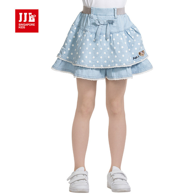 girls demin mini skirts with lace hem leg skirts children's sweets layer column type skirt 2015 summer news design size 6-15 y