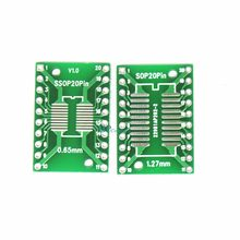 1 PCS Pitch IC adaptor Socket/Adaptor piring/PCB SOP20 SSOP20 TSSOP20 untuk Transfer Papan DIP DIP20 Pin Papan Lapangan 0.65/1.27 MM(China)