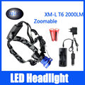 Brightness 2000 Lumen Headlamp CREE XM-L T6 LED Headlight 4 Mode Camping Lamp+Charger+Car Charger+2*18650 Rechargeable Battery