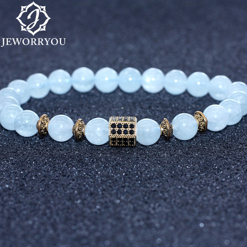 Natural Aquamarine Bracelet Women 6/8/10mm Natural Stone Bracelet Aquamarine Beads Charm Bracelet Femme Aigue Marine