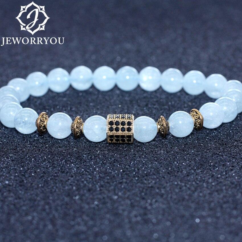 Natural Aquamarine Bracelet Women 6/8/10mm Natural Stone Bracelet Aquamarine Beads Charms Bracelets Femme aigue marine