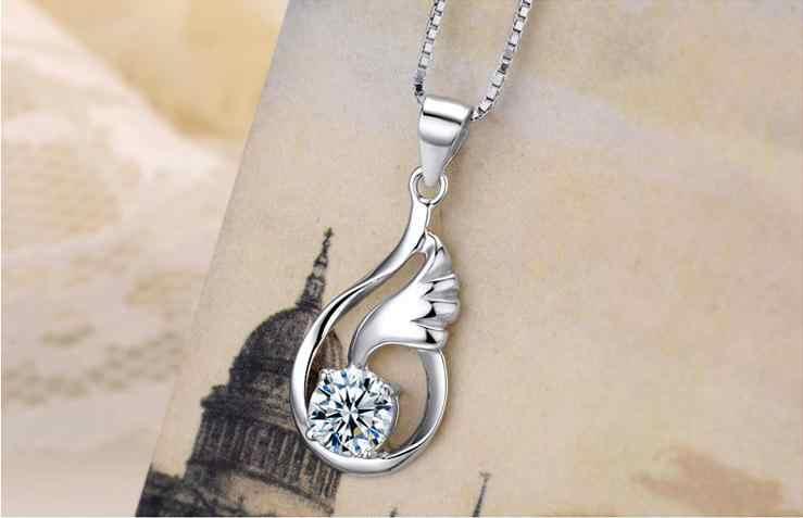 100% 925 niezawodnego srebra mody skrzydła anioła błyszczące kryształowe ladies'pendant naszyjniki biżuteria kobiet krótkie pudełko łańcuch prezent urodzinowy