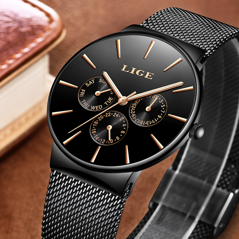 LIGE Fashion Simple Mens Watches Top Brand Luxury Business Waterproof Quartz Watch Male Clock Sports Watches Relogio Masculino in Quartz Watches from Watches