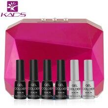KADS 36W CCFL+LED UV Nail Gel Lamp Dryer & 4pcs gel polish + top & base coat Diamond Shape Curing Nail Dryer for nail tools