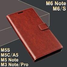 Meizu M 6 Note case cover leather Crazy horse flip case for M 5 note Meizu M6S case cover Luxury M3 note Pro Meizu M5c case M5s