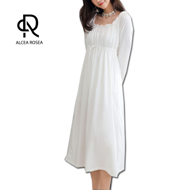 Alcea Rosea Women Elegant Nightdress White Cotton Underwear 3/4 Sleeve Female Night Gown Sleep Shirt Dress Sleepwear