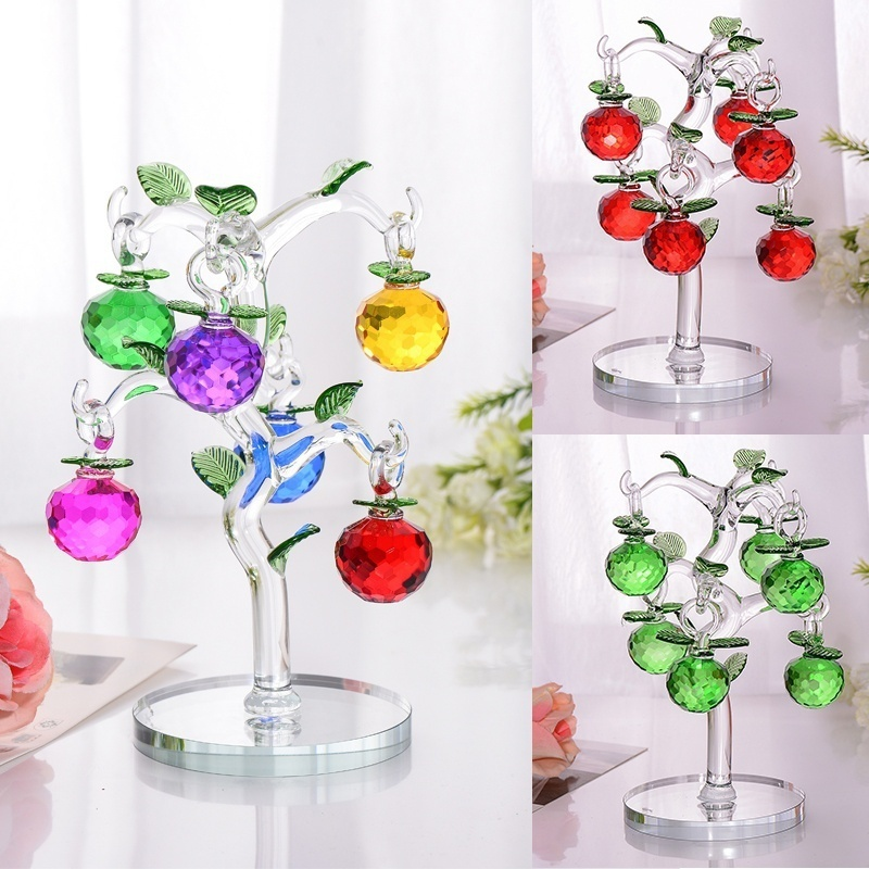 Glass Crystal Apple Tree with 6pcs Apples Fengshui Crafts Home Decor Figurines Christmas New Year Gifts Souvenirs Decor Ornament