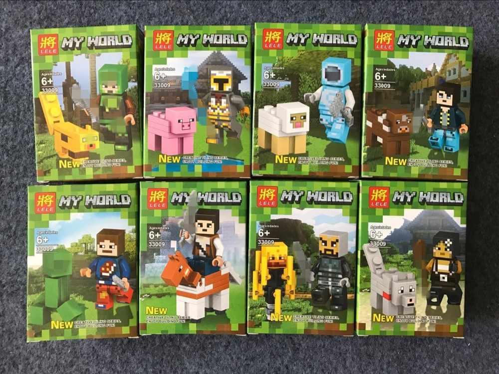 8 шт. 33009 мини-фигурки Стива Alex Zombie Enderman Reuben Skeleton Weapon игрушечные фигурки с блоками LegoINGlys