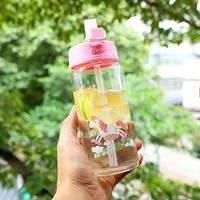 Unicorn Straw Glass Bottle For Baby Feeding Cup Learning Drinking Water Dream Lovely Bottle 350ML 480ML