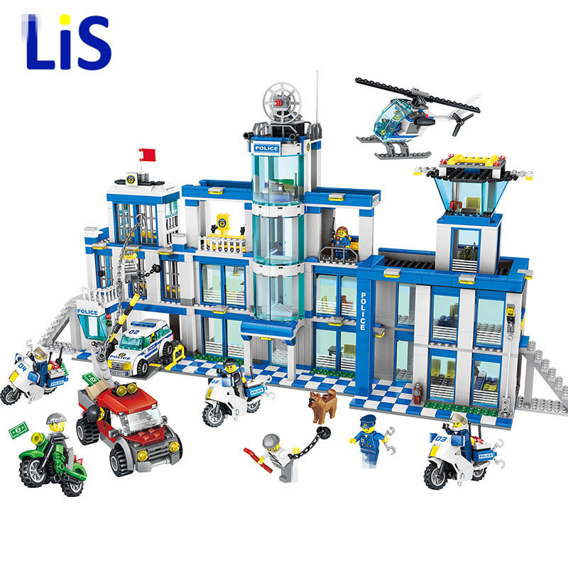 1397pcs Large Building Blocks Sets City Police Station Anti-Terrorism Action Compatible City Police Toys for Children city architecture mini street scene view reims cathedral police headquarters library fire departmen building blocks sets toys