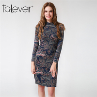 2017 New Autumn Spring Women Sexy Dress O Neck Long Sleeve Cashew Flower Print Bodycon Dress