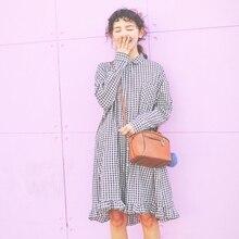 Harajuku Loose Long Dress Women Black Plaid Casual BF Style Falbala Edge Linen Cotton Polo Long Dress