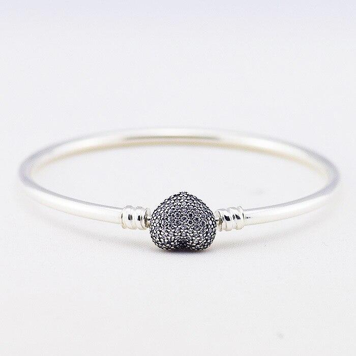Date 925 bijoux en argent Sterling Bracelet avec fermoir coeur et zircons cubiques étoile bracelets et Bracelet pour les femmes bricolage bijoux fins