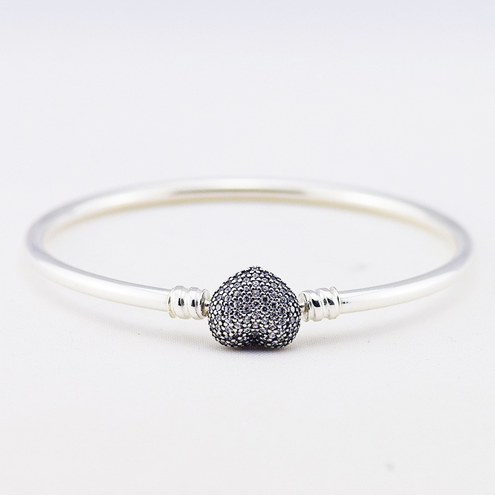NEWEST 925 Sterling Silver Jewelry bangle with heart clasp and cubic zirconia Star Bangles & Bracelet for Women DIY Fine jewelry 925 sterling silver jewelry signature bangle bracelet with clear cz and real 14k gold fine jewelry trendy bangles for women 049k