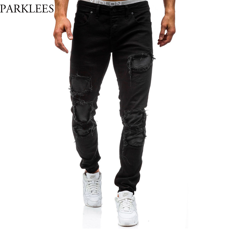 New Black Ripped Jeans Men 2017 Brand Autumn Hole Design Hip Hop Washed Skinny Jeans Casual Slim Zipper Mens Pencil Jeans Homme