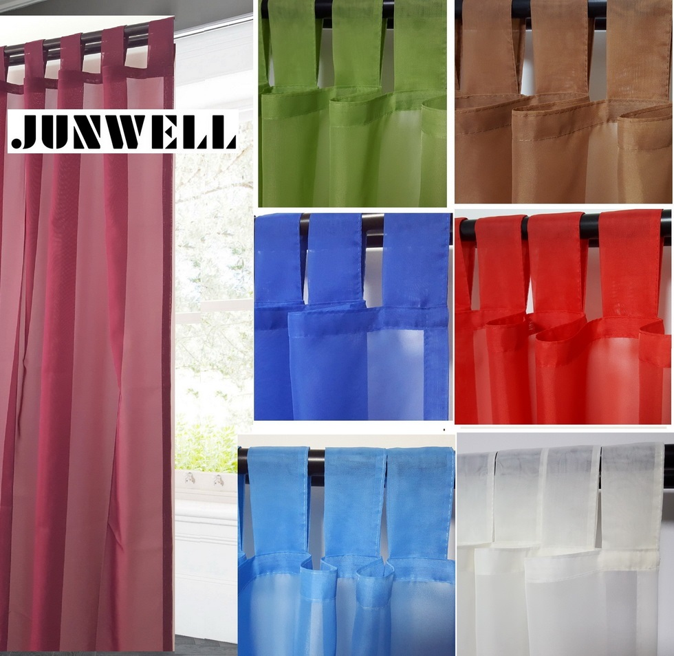 100% Poliéster voile Tab Cortina superior Hogar Wave Europeo Sala de estar Balcón Panel de gasa 1 PC Tamaño personalizado disponible