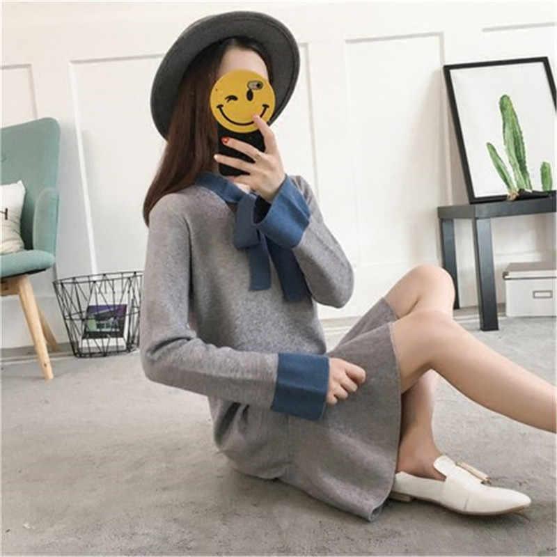 Осень, средней длины, женские с длинной деталью свитер 2018 новая теплая защита сплошной цвет со свободным низом платье Повседневное Модные женские W106