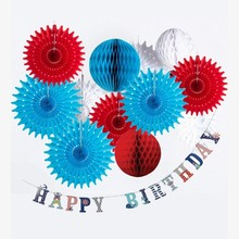 Birthday Party Decorations Kids Nautical Theme Blue & Red  Boy Paper Fans Happy Banner