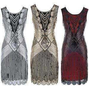 Image 1 - Robe De Cocktail, haut Vintage, haut, rouge noir, avec broderie De paillettes, Sexy, robes De bal, robes De fête, 64450