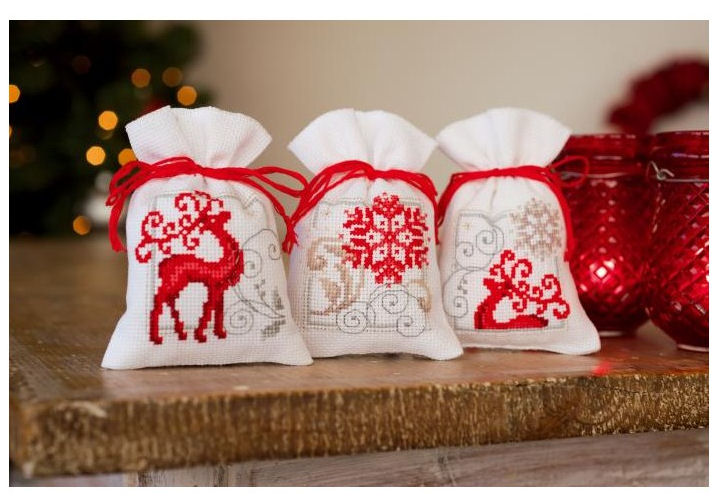 3pcs Together Christmas Bag Cross Stitch Package Deer 18ct 14ct 11ct White Cloth Thread Embroidery DIY Handmade Needlework
